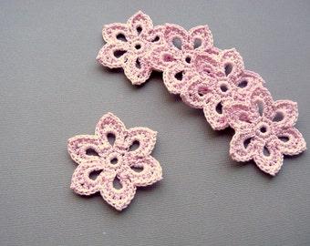 5 Pale Pink Flower Appliques -- 2 inch Diameter, Crochet Flowers