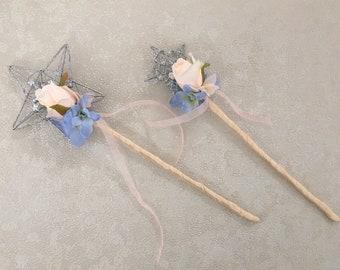 Beautiful wedding Flower Girl Wand  - Bridesmaid Wand peach rose and pastel blue