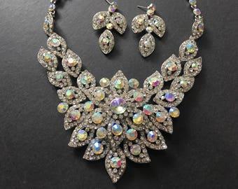 Swarovski & AB rhinestone crystals wedding bridal necklace, crystals necklace, jewelry set, wedding necklace, brides necklace, prom, engaged