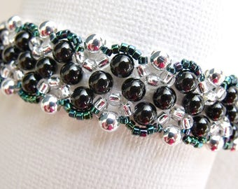 handmade black and silver bead woven bracelet