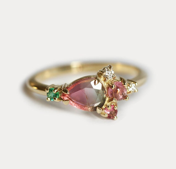 cabochon gold womens rings tourmaline pink engagement ring diamond yellow ct