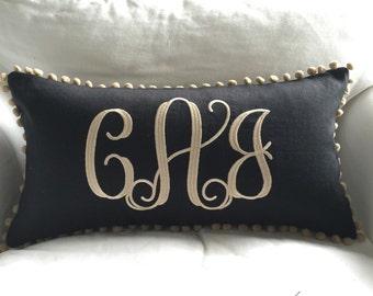 Monogrammed Linen Pom Pom Pillow Cover