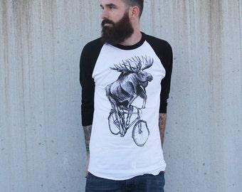 Panda on a Bicycle - Baseball Raglan Tee, Mens T Shirt, Unisex Tee, Cotton Tee, Handmade graphic tee, Bicycle shirt, Bike Tee, sizes xs-xxl