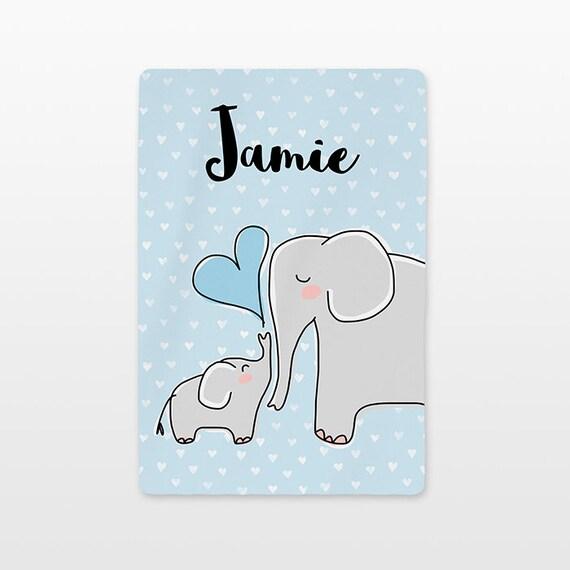 Elephant Personalized Baby Blanket Name Custom Gender Neutral Baby Boy Baby Girl Minky Fleece Unique New Baby Gift Idea Animal Gray Blue