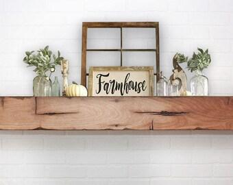 Floating Shelf Mantle - Barn Wood Style Beam - Farmhaus / Farmhouse
