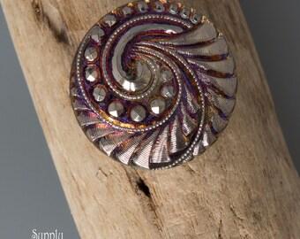 Czech Glass Button,  Fuchsia Lavender Swirl, Spiral, 27mm - 3404 - 1 Piece