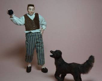 The Walk - ooak 12th scale dollhouse miniature scene - man with dog - CWPoppets