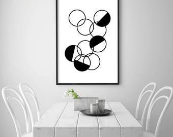 Black Circle Print, Modern Art Print, Mid Century Abstract, Circle Art, Circle Wall Art, Scandinavian Digital Print, Black Mid Century Print