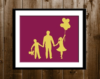 Custom Mother's Day Gift, 3 Children with Props Silhouette Portrait, Brother and Sister Art, Gifts for Mom, Custom Silhouette Portrait