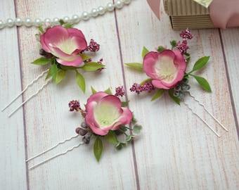 Flower girl Bridal shower Flower hair pins Bridal hair pins Wedding headpiece Flower for bride Flower accessories Floral hair pins for girl