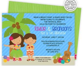 Luau Invitation / Hawaiian Invitations / Luau Birthday Invitation / Luau Party / Luau Party Invitations / Luau Invite / Luau Birthday | 53