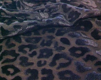 Cheetah Pattern Black Semi-Sheer Stretch Polyester Spandex Velvet Burnout Fabric - 58 to 60 Inches Wide - By the Yard or Bulk