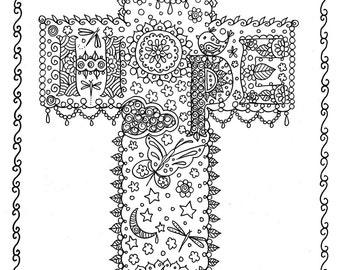 HOPE Cross Digital Coloring Page Instant Download from Crosses Cloring Book Christian/digital/digi stamp/bible/church