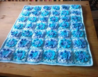 Hand crocheted baby blanket.