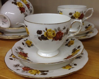 Colclough Bone China Trio, Autumn Roses Vintage 1960s Made In England