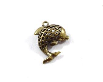 1 Brass Filigree Fish Pendant, Fish Pendant, Antique Brass Tone Pendant, Brass Pendant, Bohemian Pendant, Boho Pendant
