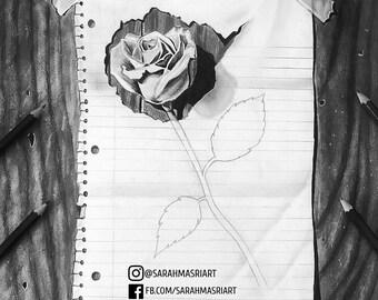 Illusion Rose Drawing