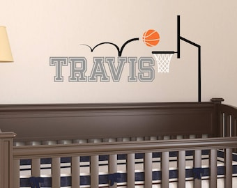 Basketball Wall Decal - Sports Wall Decal - Name Wall Decal