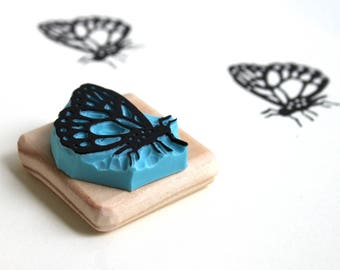 Butterfly stamp, hand carved, wood mounted