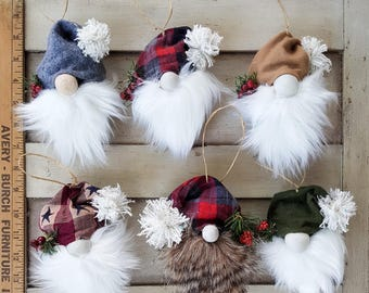 Pick 2 - Woodland Christmas Gnome Pine Cone Ornaments - Multiple Beard & Cap Pattern Options