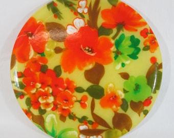 "Round Floral Orange & Yellow Fiberglass Serving Tray Plate MCM 11"""