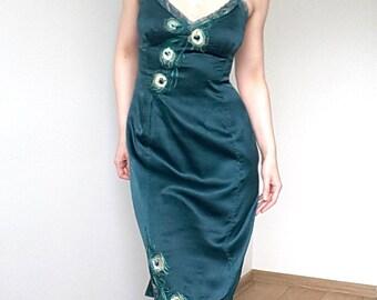 Karen Millen Emerald Green Silk Dress peacock feather embroidering