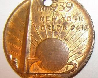 1939 US New York World's Fair Washington Inauguration Souvenir Token Coin medal