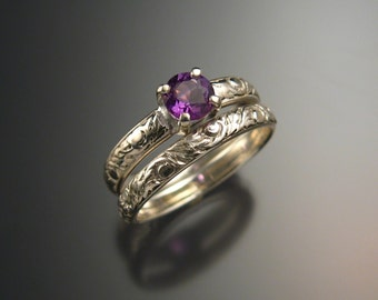 Amethyst Wedding set Sterling Silver ring, made to order in your size