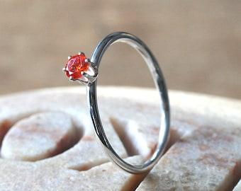 Animal Charity CAPIC, Orange Faceted Stacking Ring in Sterling Silver, Size 6, Prong Ring, Halloween Ring, Womens Ring, Gift for Her Mothers