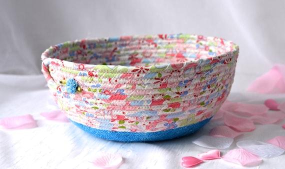 Spring Garden Basket, Handmade Shabby Chic Bowl, Floral Bath Basket, Makeup Organizer, Girls Room Decor, Pink coiled fabric basket