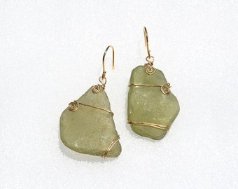 Sea Glass Earrings Gold Filled Earrings. Sea Glass Jewelry. Handmade Earrings. Big Olive Green Genuine Sea Glass from Israel. Free Shipping