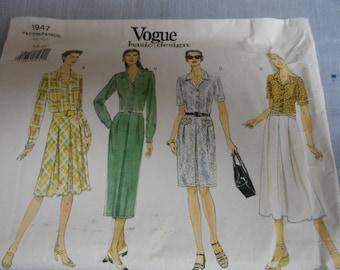 Vogue 1947 Basic Deisn Misses Dress Pattern Size 6-8-10 Uncut