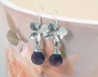 Amethyst  Earrings, Genuine Amethyst Gems Sterling Silver Earrings