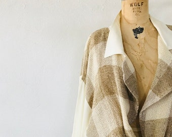 Woven Slouchy Silk and Linen Jacket