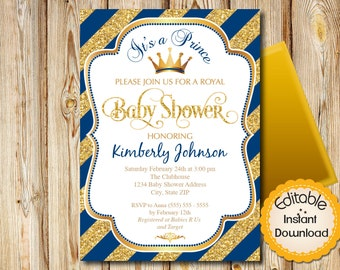 """Baby Shower Invitation, Boy, Prince, Blue and Gold, Diagonal Stripes, INSTANT download, EDITABLE in Adobe Reader, DIY, Printable, 5""""x7"""""""