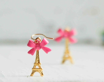 Eiffel Tower Earrings Gold Eiffel Tower Jewelry Paris Earrings Pink Bow Earring Gift for Her French  Eiffel Tower Charms Bridesmaid Gift