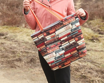 Large fabric tote bag / large beach bag / shopping bag books
