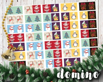 Domino Christmas game printable digital file instant download