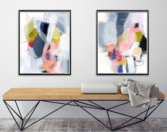 Abstract Painting, Set of two Giclee Prints. Abstract wall art, 8x10 Fine art print, nursery art, Colorful abstract art print. Geometric.
