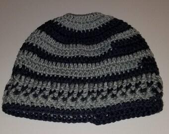 Hand Crocheted Messy Bun Ponytail Holder Team Spirit Blue Gray