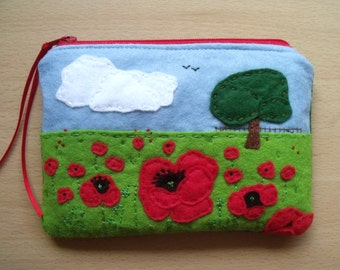 SOLD, but see description. Poppies, Embroidered, Hand Sewn, Felt & Canvas Padded iPhone 6 Mobile Case and/or Purse