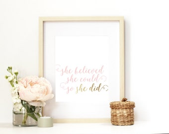 Wall Art Print | Girls | Room | Nursery | She believed she could so she did