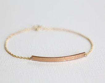 Bar bracelet, name bracelet, personalized bracelet, customized bracelet, dainty bracelet, layered bracelets - gold filled