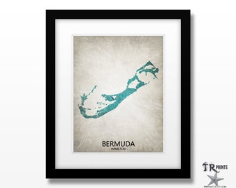 Bermuda Map Art Print - Home Is Where The Heart Is Love Map - Original Custom Map Art Print Available in Multiple Size and Color Options