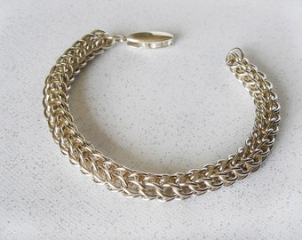 Full Persian Argentium Sterling Silver Chainmaille Bracelet