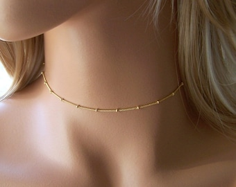 Gold Choker Necklace, Dainty Gold or Silver Chain Necklace , Dew Drop Necklace, Layering Necklace