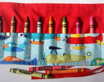 Crayon Roll Up Crayon Holder Soar Airplanes On Aqua - Holds 8 Crayons