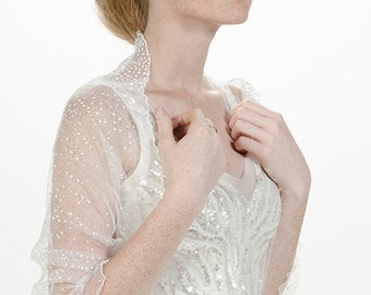 Wedding Cover Up. Sparkling Wedding Loop Shawl. White Tulle With Silver Sparkling Dots. 4 Ways Top- Shrug, Shawl, Crisscross & scarf TL142