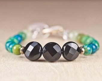 black onyx bracelet, birthing jewelry, fertility bracelet, black jewelry, chrysocolla jewelry, pyrite bracelet, teal bracelet, green
