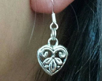 Earrings, dangle heart earrings, silver plated heart  fishhook earrings, heart earings, silver heart earrings, heart earings